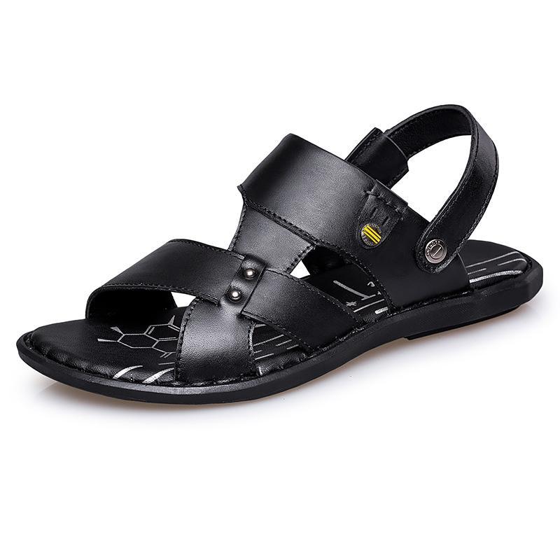große Größe Mens beiläufige Kuhleder Sommer am Meer Schuhe im Freien offene Spitze Sandalen Strand flach Flip-Flop schwarz braun Pantoffeln zapatos CS03