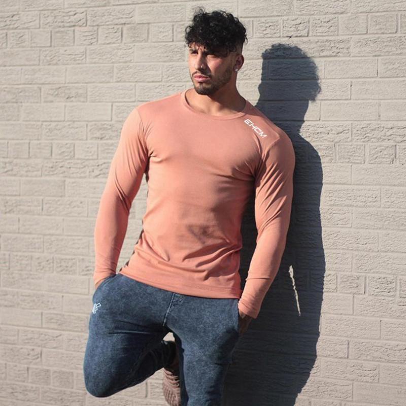 Autumn Long Sleeve t shirt Sports Top Running Joggers Men Shirt Fitness Sweatshirt Elastic Men's Gym Bodybuilding Cotton T shirt