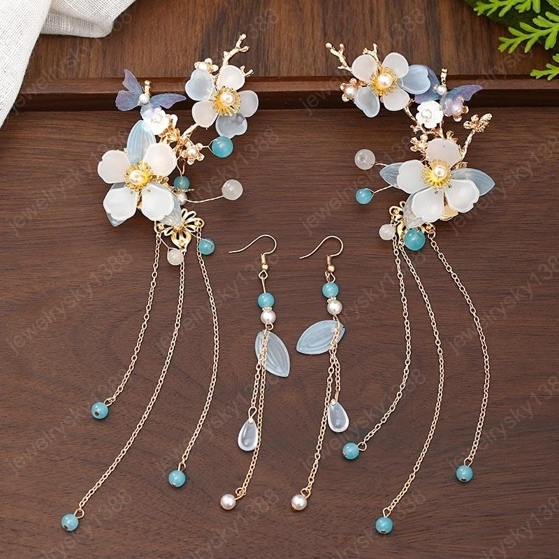 Flower Butterfly Long Tassels Hairpins Earrings Set Gorgeous Jewelry Set Vintage Chinese Style Hair Jewelry Accessories