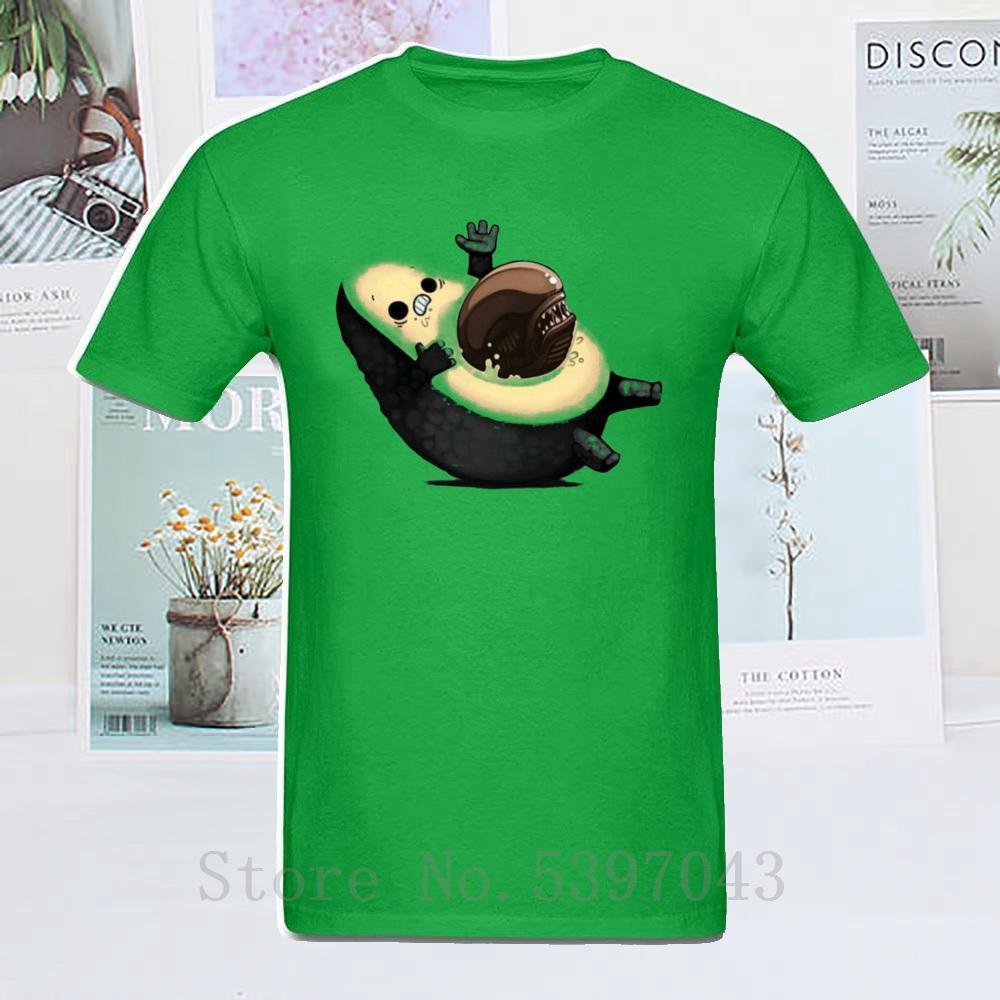 Nuovo arrivo Mens Avocado vs Alien T-shirt Facehugger maglietta alla moda 100% cotone qualunque abito maglietta degli uomini O-Collo divertente