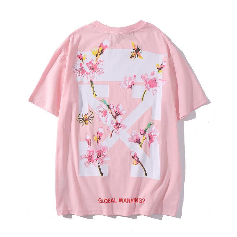 Estate OFF rosa ciliegia maglietta fiore freccia bianca uomini e donne manica corta paio di base allentata shirt4ZG2