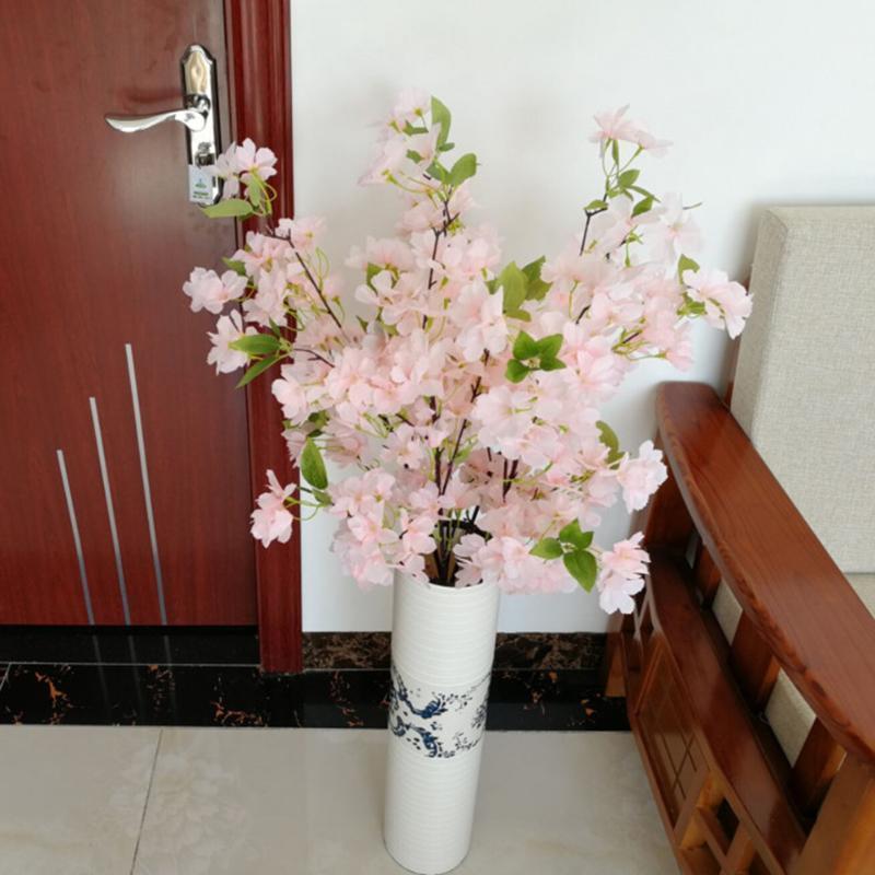 Faux 1pc Fleur de cerisier Branche de fleur artificielle pour le bricolage Fleur Fleur de cerisier Skil Bouquet moderne de fête de mariage décoratif
