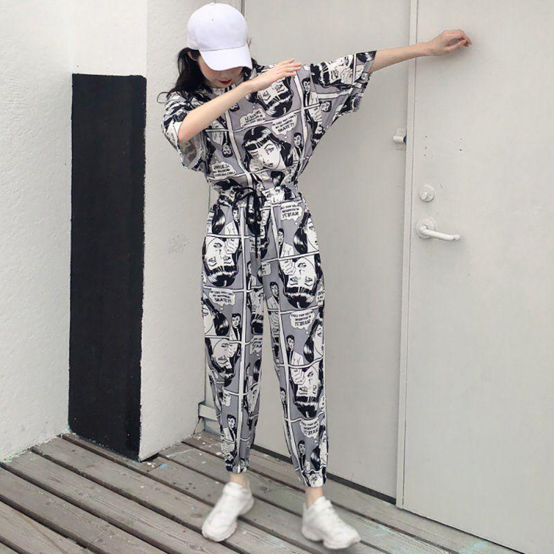 Conjuntos de desenhos animados Moda Estilo Atacado Mulheres coreano longa solto Sports Causal das mulheres T-shirt top + calça compridas para senhoras