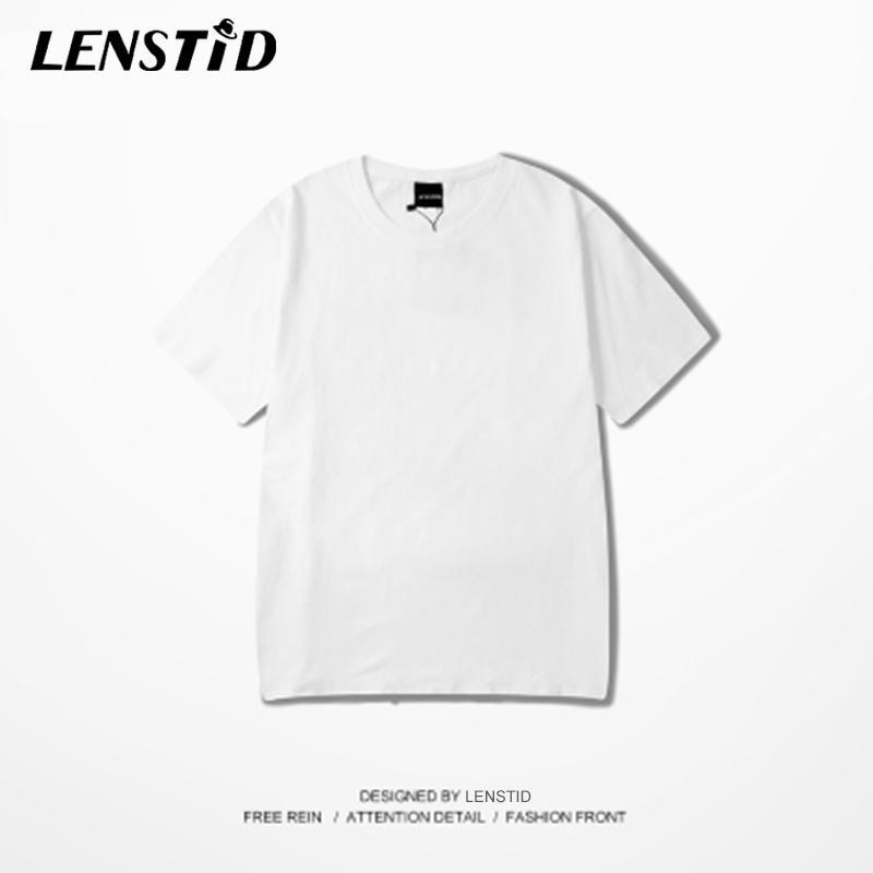 LENSTID Harajuku Llanura camiseta de 2020 del verano 100% de algodón para hombres Casual Streetwear blanco de la camiseta de la corto camisetas de la manga tops de las camisetas CX200709