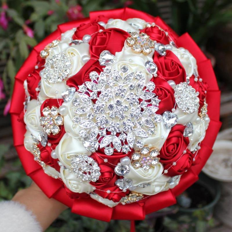 2020 Wedding Bouquet Bridal Burgundy Sation Bridesmaid Hand Hold Fower Rose Artificial Flowers Bouquet Crystal De Noiva W001 From Jasm 25 6 Dhgate Com