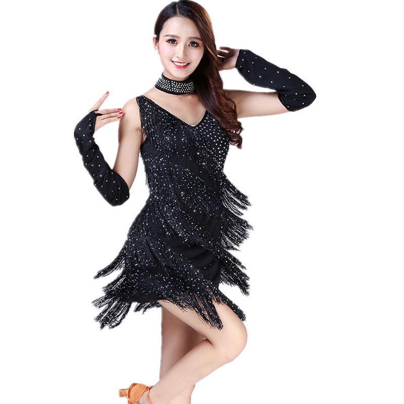 Yeni gelen! Latin Dans Elbise Askıları Püskül Sahne Performansı Kostüm Latin Dans Pratik / Yarışma Pullarda Giyim