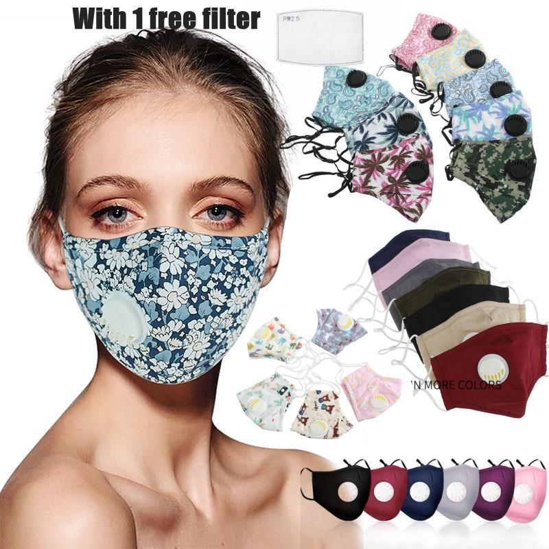 Mode Stoff Baumwolle Designer Gesichtsmaske gedruckt Gesichtsmasken mit Atemventilen sind staub- und Smog sicher, komfortabel