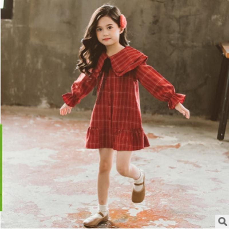 Bambini Lotus Foglie collare nuovo vestito da 2020 ragazze di estate Inghilterra Stile abbigliamento 2 Plaid colori di personalità Size4-14 Dress ly265