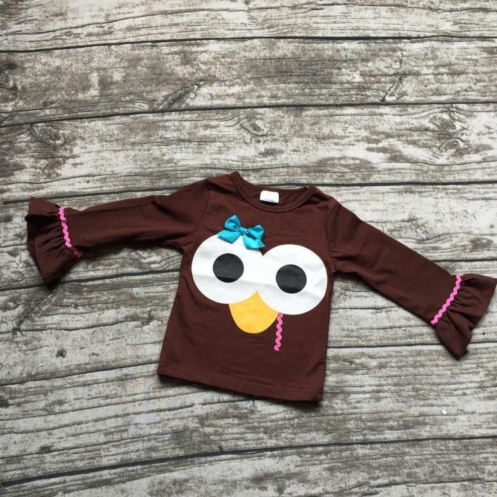 Wholesale- Babykleidung 2016 neue Ankunft Herbst / Winter-Boutique-Outfits Truthahn raglans Babys Danksagung raglans braun oben WKMG #