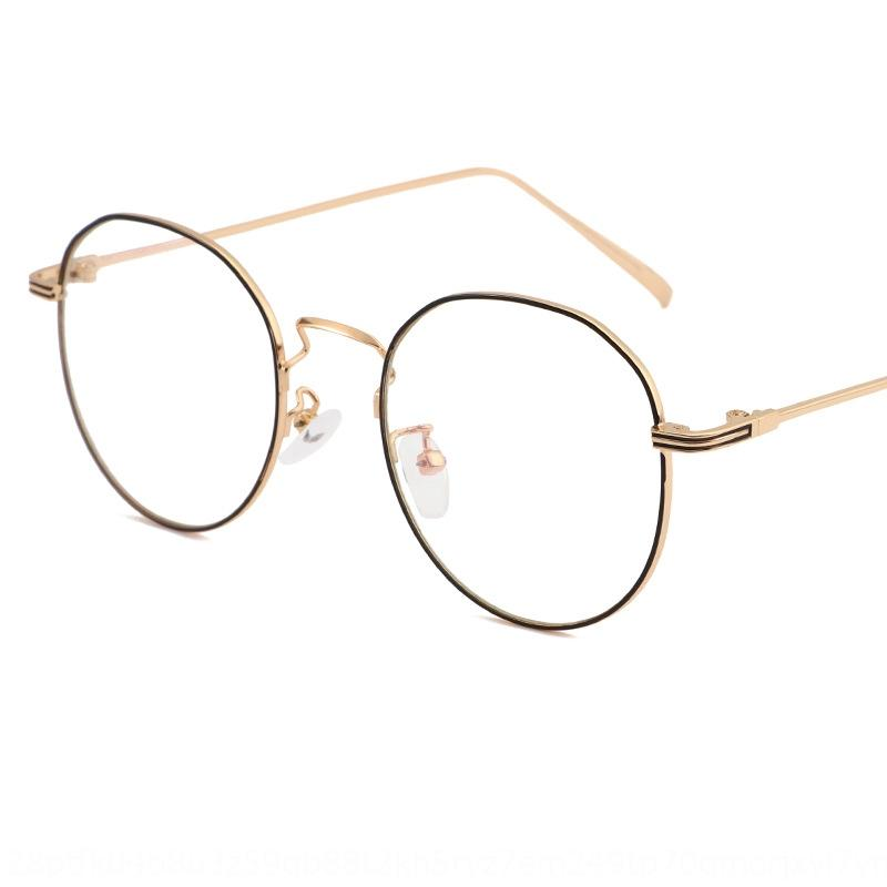 2019 Nova moda Frame redondo das mulheres internet celebridade pode igualar olhos miopia simples óculos de miopia óculos de metal para homens