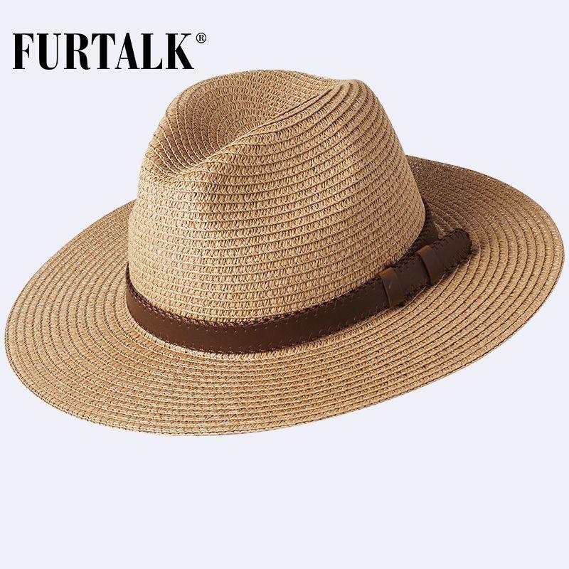 قبعة الصيف FURTALK للمرأة الرجال بنما سترو قبعة الصيف شاطئ قبعات فيدورا الأشعة فوق البنفسجية وقاية من الشمس Capchapeau فام T200715