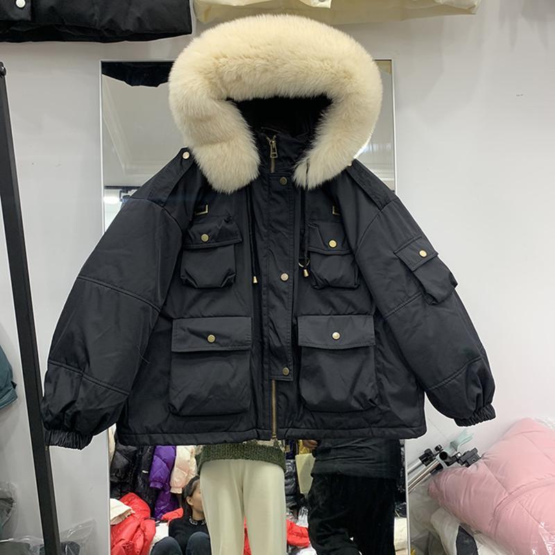 2020 Huge Jacket real Fur casaco de capuz Mulheres New Inverno de Down 90% Branco Duck Down Parka Grosso Quente Casacos