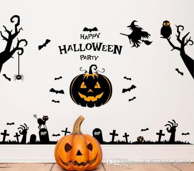 Removable Halloween Wall Stickers for Kids Room New Halloween Pumpkin Bat Owl Witch Wall Sticker Window Sticker DIY for Living Room BedRoom