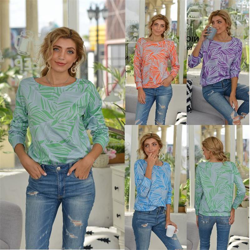 قمصان T المتضخم للمرأة فضفاض عارضة قمصان كم طويل التعادل صبغ