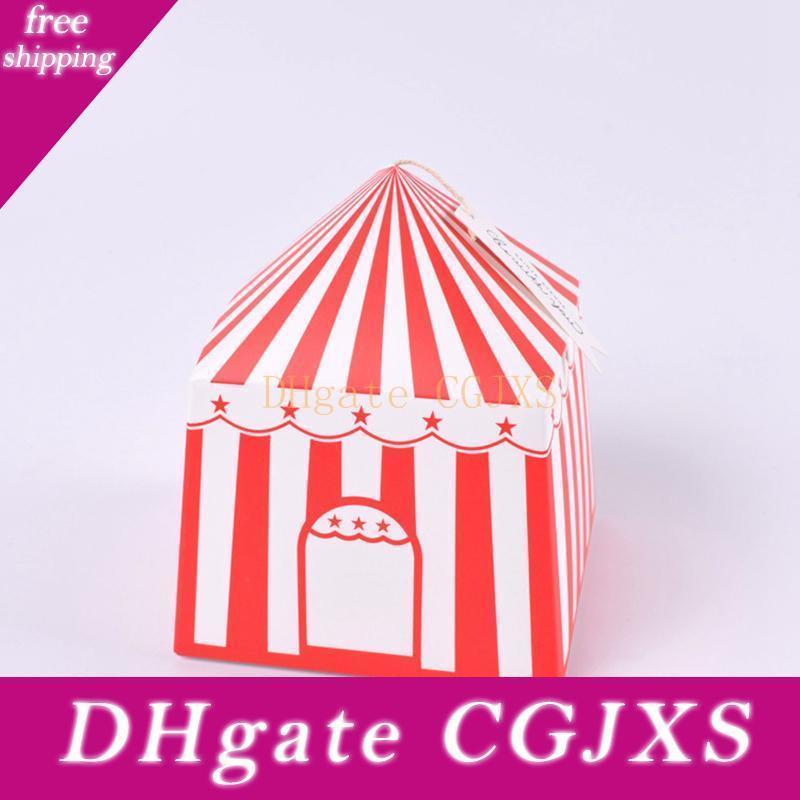 Haus-Zelt-Süßigkeit-Kästen Makronen Süßigkeit-Verpackungs-Kasten Geschenkschachteln aus Papier Pie Party Box Taschen für Valentine s Day Wedding Favor