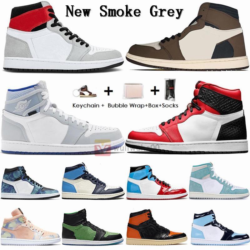 Kutu Çorap Boyutu 13 Jumpman 1 Sneakers Gri Travis Scotts UNC 1s Erkek Basketbol Ayakkabı Şikago turbo yeşil Obsidian Kadınlar Eğitmenler Duman