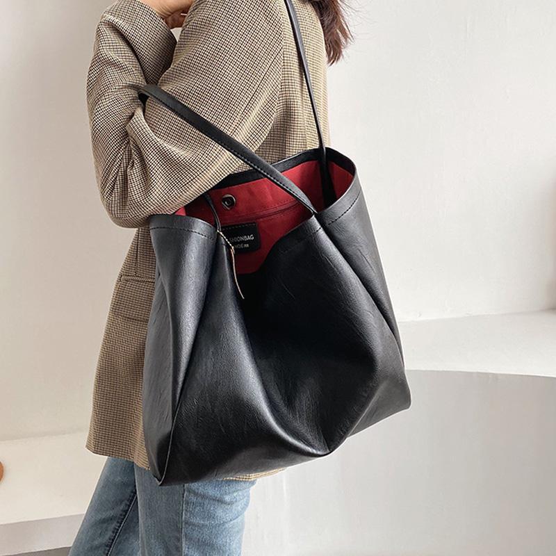 Çanta Kadın Deri Bolsos Tasarımcı-Omuz Büyük Kadın Tote Mujer Çanta Bolsa Feminina Siyah IRQKS