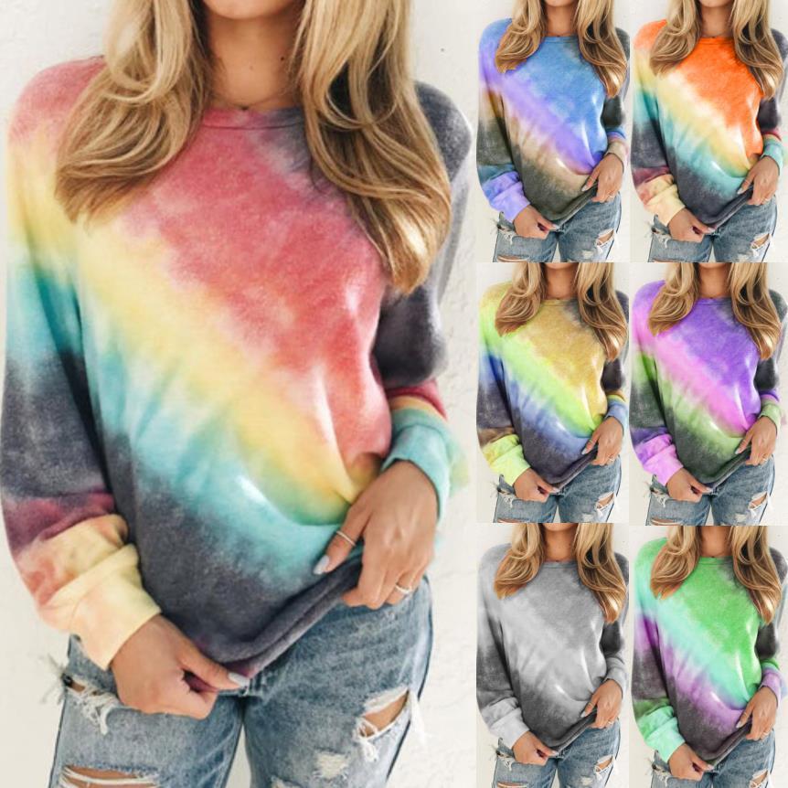 Multicolor Tie-dye aberturas laterales pulóver sudadera atractiva de la manera camisetas ocasionales para las mujeres