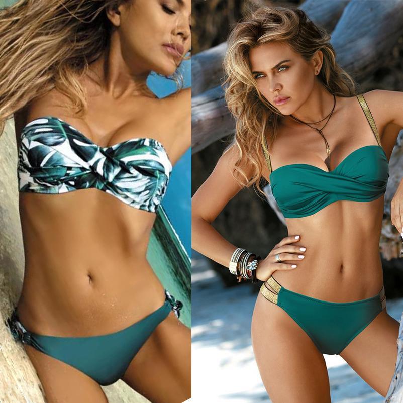 Chest Crossing Bikinis eingestellt Zweiteilige Badeanzüge Frauen Sexy Druck Bikini 2020 Solide Swimdress Badeanzug brasilianischen Plus Size Bademode