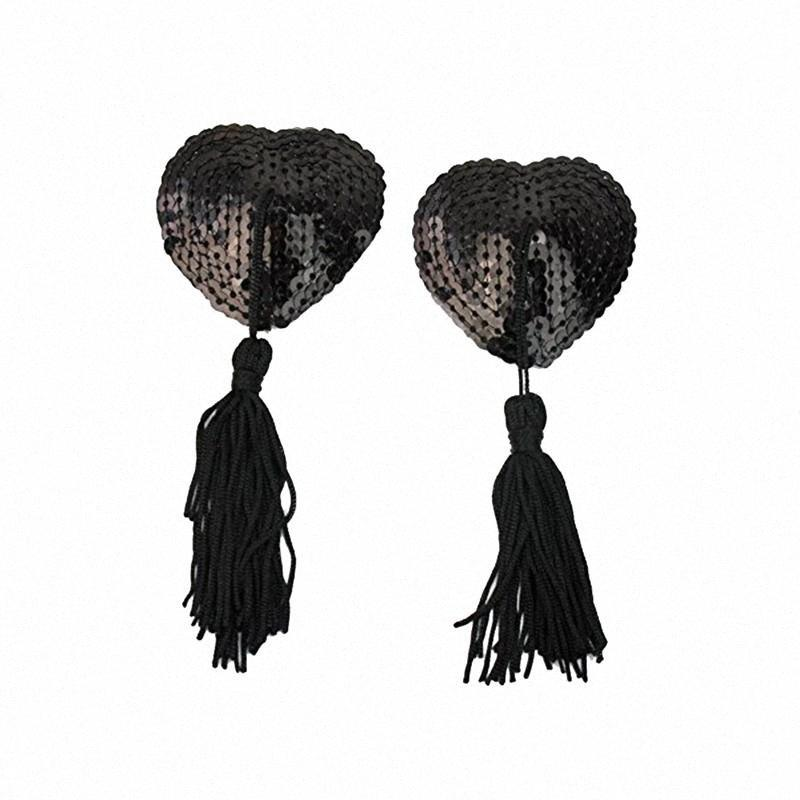 Pair Adhesive Breast Pasties Sequins Nipple Stickers Cover Lave Heart Tassel Breast Concealer Pad for Women (Black) GnIL#