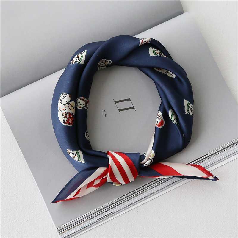 Foulard soie coréenne chiens animaux impression chics nouvelles petites scarfs carrés pour dames printemps été de l'écharpe vintage 60x60cm