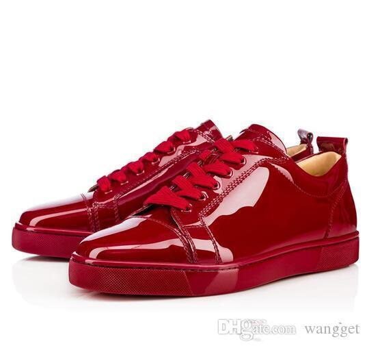 2019 Homens Red inferior Sapatilha brilhante de verniz vermelho e preto Low Top, Moda Red inferior Sneakers Júnior Luxo design casual sapatos