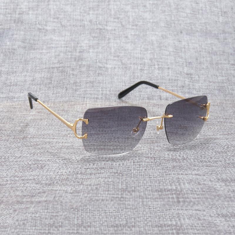 Vintage sin montura cuadrada c alambre C alambre de gafas de sol Oculos Shade Diamond Cutt Cutter Marco de metal Gafas Oval Mujer para la conducción de playas