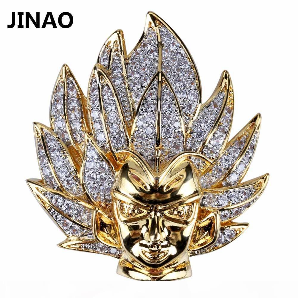 Collar colgante Jinao joyería de Hip Hop heló hacia fuera la cadena de cobre chapado en Micro Pave CZ animado personaje de dibujos animados para los regalos de los hombres de joyería