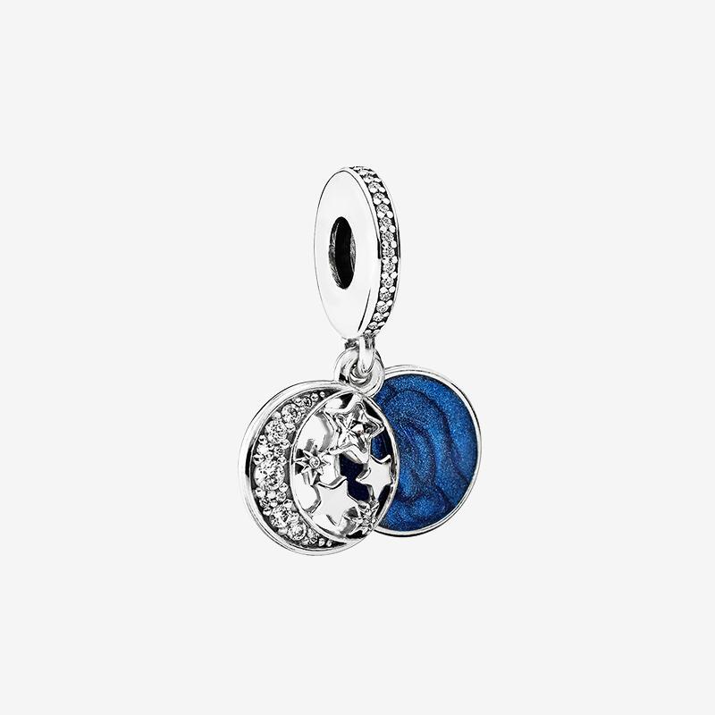 달과 푸른 하늘 매달려 매력 팔찌 펜던트 목걸이 만들기 Pandora 925 스털링 실버 매력에 대 한 원래 상자와 액세서리 만들기