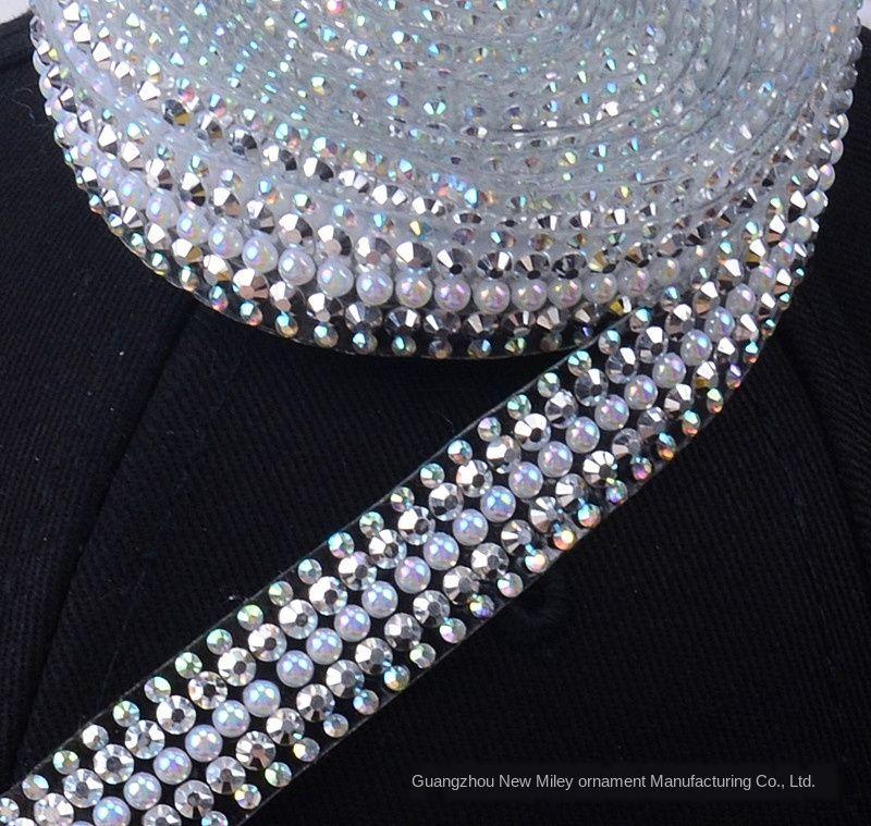 2mm rhinestone flat bottom resin accessories Diamond DIY mesh diamond hot drill long strip clothing accessories water drill chain diy