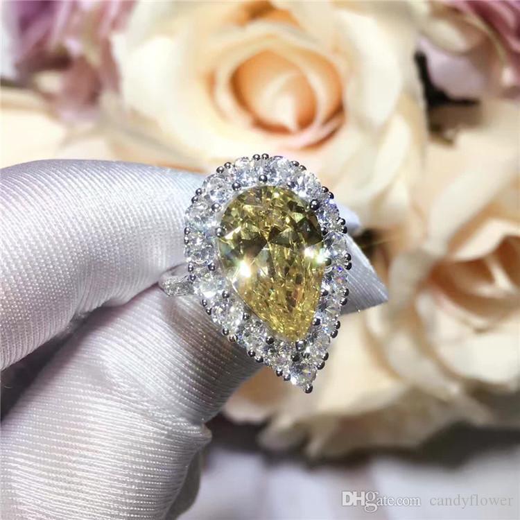 Kadınlar için TOPTAN Yüksek kaliteli klasik 925 gümüş CZ elmas büyük gözyaşı sarı kristal halka düğün takı