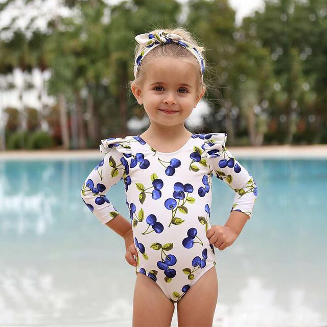 الاطفال فتاة فقاعة كم طويل الأطفال ملابس السباحة قطعة واحدة طفح الحرس لطفلة الصيف ثوب السباحة ملابس السباحة فتاة صغيرة