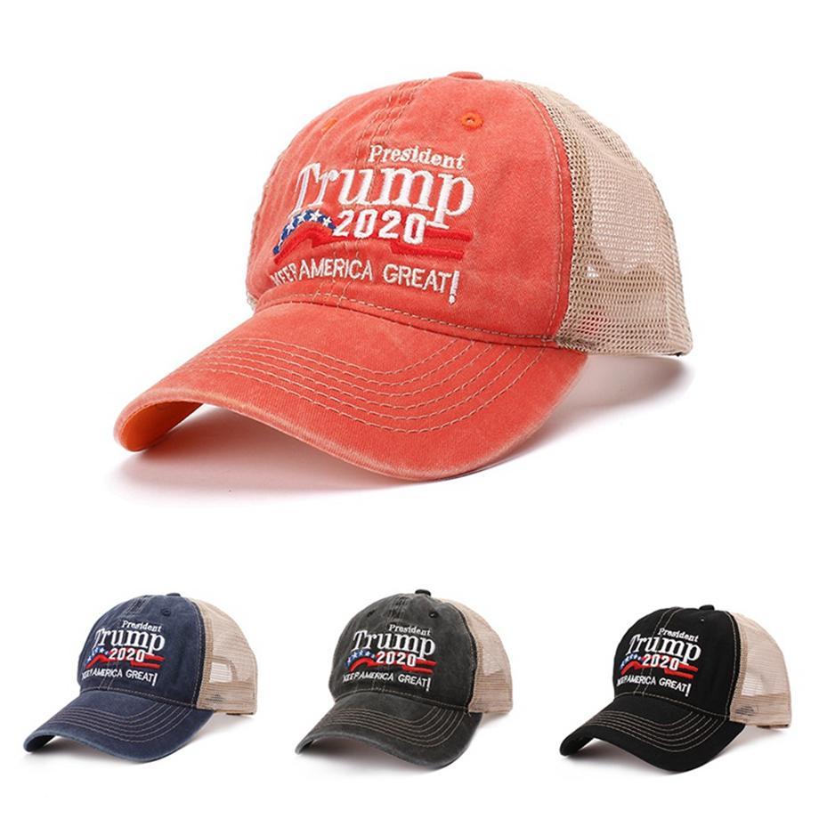 Donald Trump 2020 Cap remiendo de béisbol lavada casquillo de los deportes al aire libre hacen sombrero de América del Gran nuevo presidente republicano malla 50pcs LJJA2423