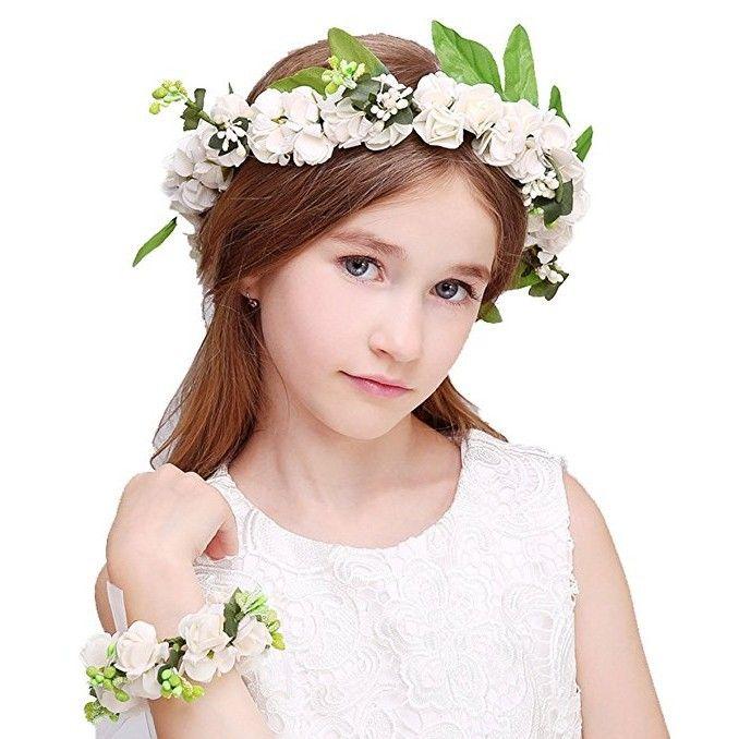 Country Boho Flower Wreath Garland Crown Festival Wedding Bridal Bridesmaid Floral Wristband Flower Girl Headpiece Hair Accessories AL6647