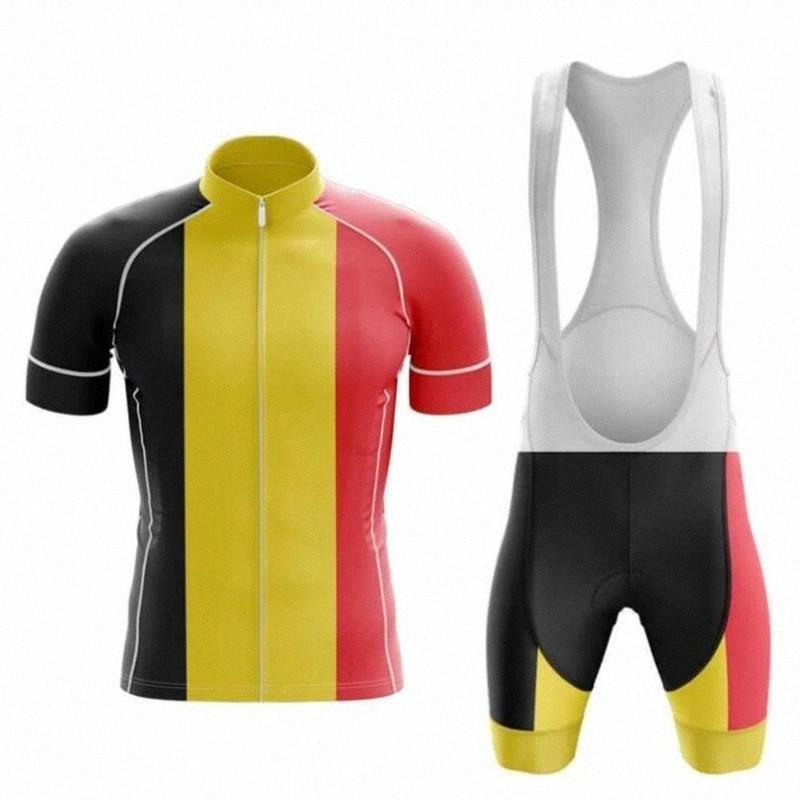 2020 2020 Nueva belga desgaste para hombre de la bandera del equipo Jersey de ciclo de la bici del desgaste de manga corta ciclismo Bicicleta Roadwear 20DGEL transpirable Cojín nwpO #