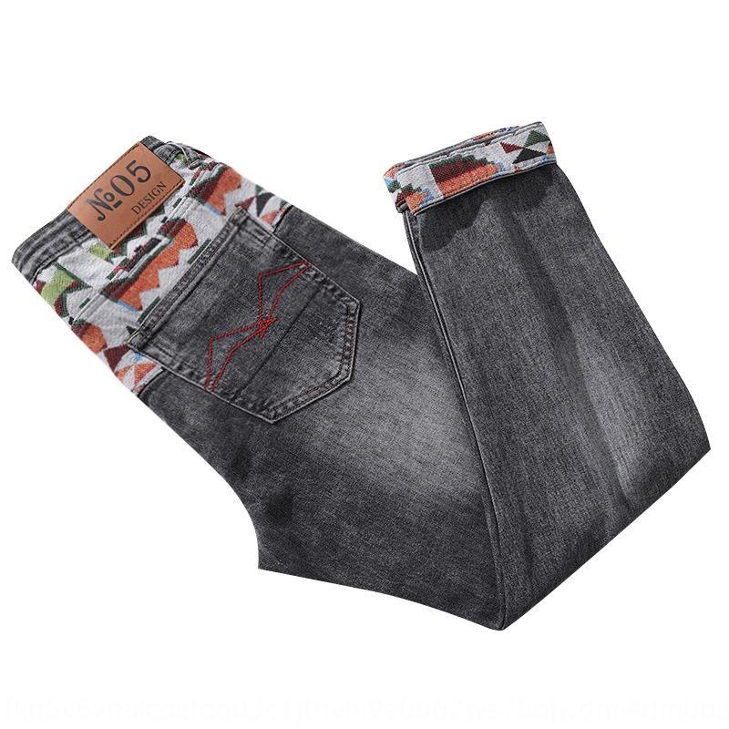 2020 lumière d'été brodé maigre mode ethnique de rue 9 hommes cheville longueur coréenne et un jean pantalon brodé panneau jeans iNMbX