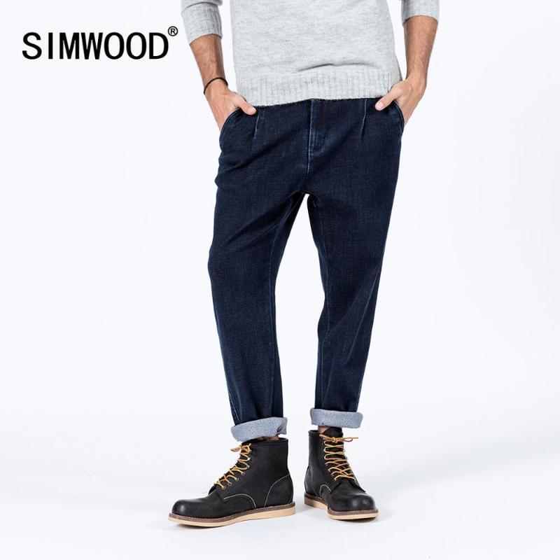 SIMWOOD printemps hiver nouveaux jeans taperd lâches hommes cheville longueur de haute qualité pantalon en denim épais taille plus chaud jeans SI980687