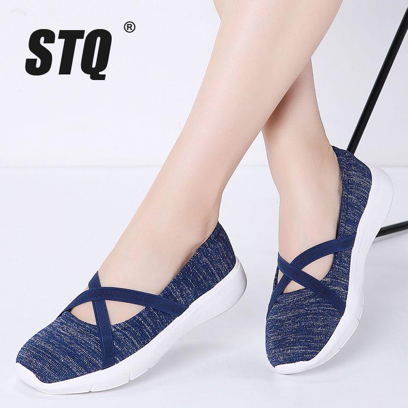 STQ 2020 Automne Femmes Flats Women respirante Mesh Sneakers Casual Femme Respirant Ballet Mesh Flats Chaussures pour femmes 18062