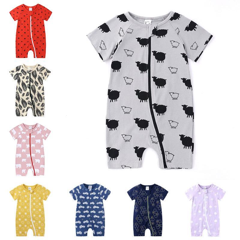 Baby-Spielanzug Baby-Overall Short Sleeve Doppelreißverschluss Baumwolle Onesies Druck Sommer-Kleidung für Junge Mädchen 3-24M