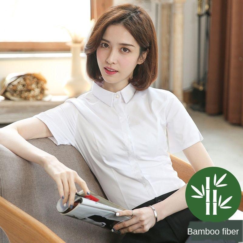 dzw9W Bambusfaser der Frauen kurzärmeliges professionelle Werkzeuge koreanischen 2019 Sommer neuen Zoll weiß weiß atmungs Arthemdes Shirt