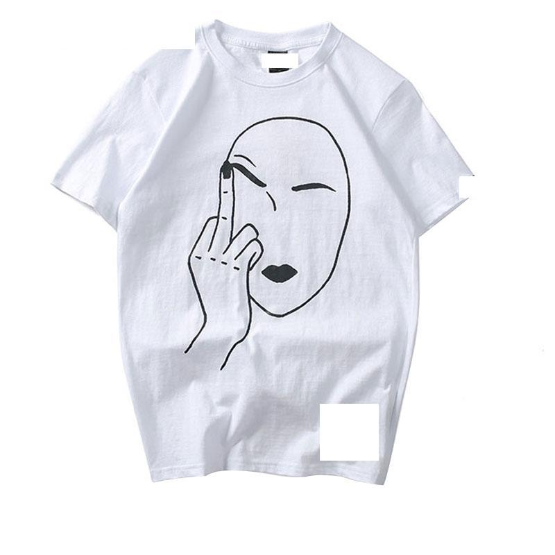 Middle Finger Printed Short Sleeve Tee Shirts Men Hip Hop 2020 Fashion Casual Cotton T-Shirt Funny Streetwear Tops Tees