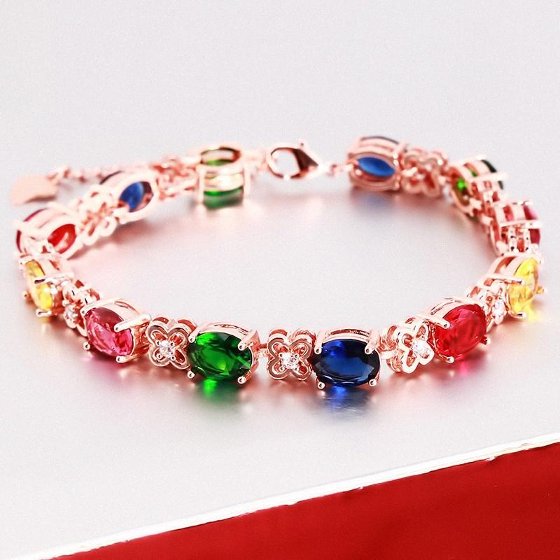Catena nuove signore Bracciale in oro rosa di colore Bracciale signore brillante Cubic Zircon di cristallo per le donne ki0j #