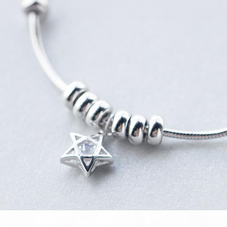 jóias de luxo S925 prata pulseiras de cinco pontas da estrela ciecles pulseiras para mulheres moda quente livre do transporte