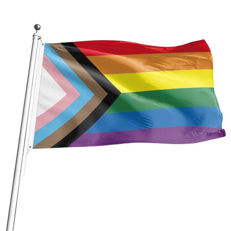 Regenbogen-Flagge 90x150cm Homosexuell und Homosexuell Stolz Polyester Banner Flaggen Polyester Bunte Regenbogen-Flaggen für die Dekoration T2I51154