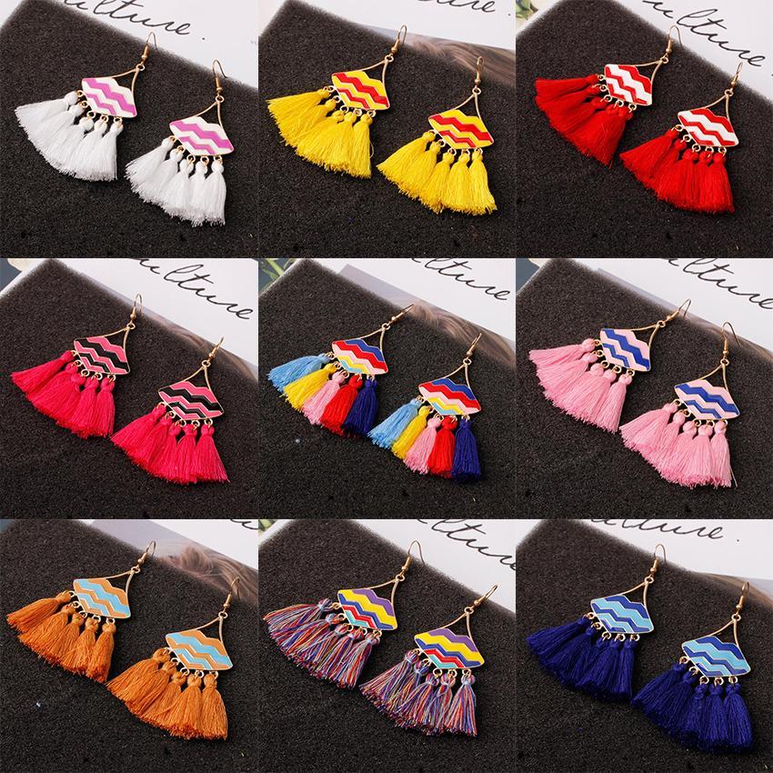 Bohemia Fan-shape Tassel Earrings Metal Alloy Lips Fringe Charm Earring Dangle Ear Hook Lip Eardrop For Women Lady Jewelry Gifts 10 Colors