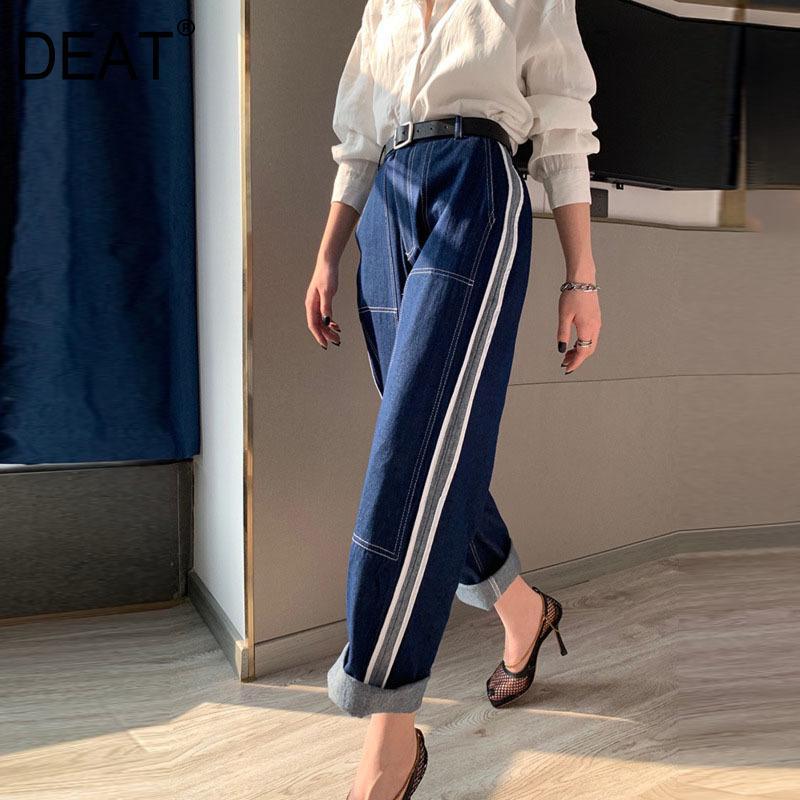 [DEAT] de 2020 de Moda de Nova Calças cintura alta Mulheres Jeans Denim Vintage perna larga solto selvagem Hetero listrado clássico AP800 CX200721