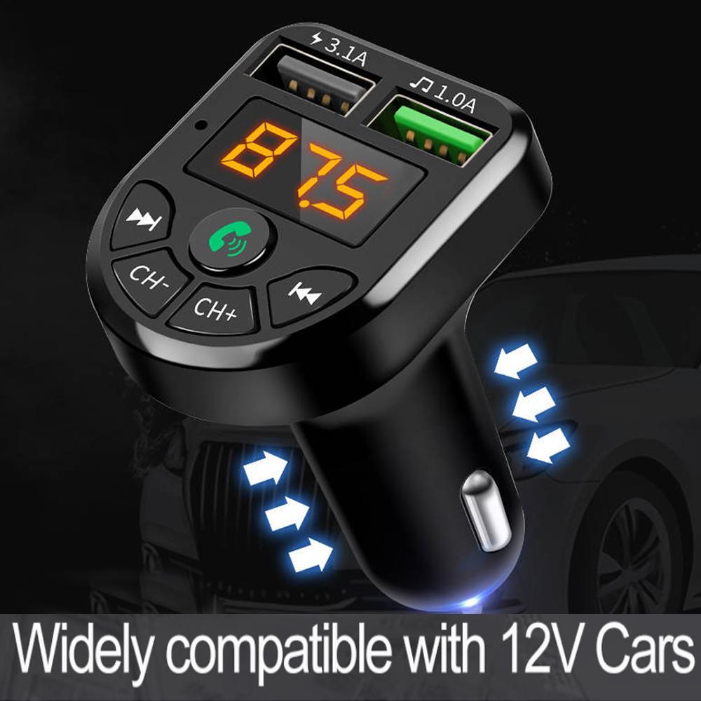 FM 송신기 블루투스 차량용 MP3 오디오 플레이어 핸즈프리 차량용 키트 5V 3.1A 듀얼 USB 충전기 12-24V TF U 디스크 음악 플레이어