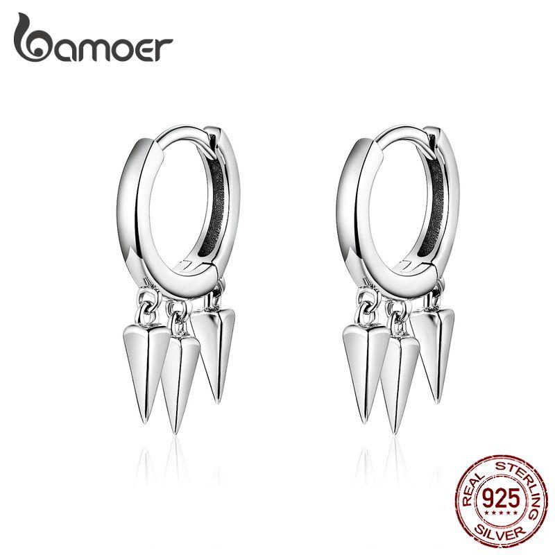 bamoer Punk Ohrringe für Frauen und Männer 925 Sterlingsilber Einzigartiges Design Stilvolle Unisex Schmuck Pendientes SCE779 CX200801