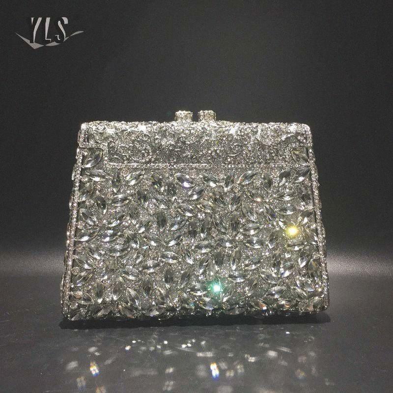 Silber Diamant-Kupplungs-Abend-Beutel-Frauen Hochzeit Cocktail-Handtasche Brautkristallgeldbeutel-Weinlese-Taschen Kleiner Purse pggb #
