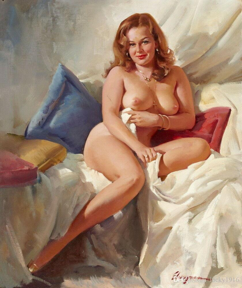 Gil Elvgren Nude Art Sexy Woman Famous Oil Painting on Canvas Romantic Wall Art Pictures Modern Posters & Prints Bedroom Home Decor